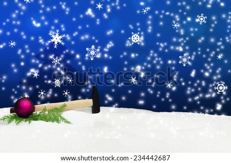 Hammer Hand Tool Snow Christmas Greeting Card - stock photo