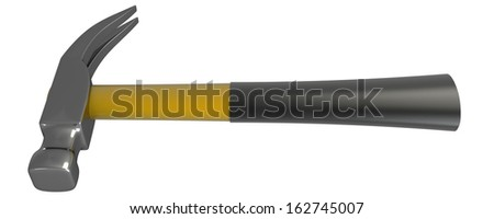 Hammer. Isolated. white background. 3d - stock photo