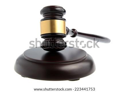 Hammer of judge isolated on white background - stock photo