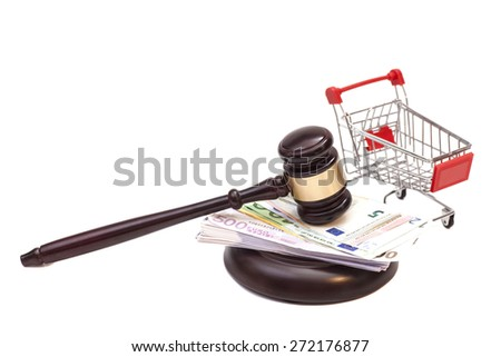 Hammer of judge, pushcart and euro money isolated on white background - stock photo