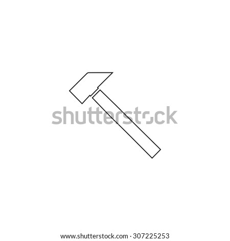 Hammer. Outline black simple symbol - stock photo