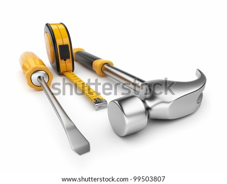 Hammer, screwdriver, tape measure 3d. Construction tools isolated on white background - stock photo