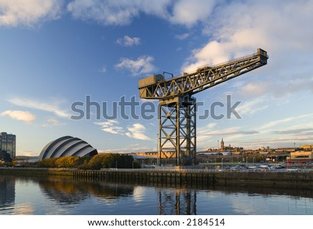 Hammerhead crane at sunset on the bank of the River Clyde - stock photo