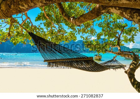 Hammock hanging between exotic trees at the sandy beach and sea coast - stock photo