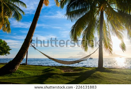 Hammock silhouette with palm trees on a beautiful beach at sunset - stock photo
