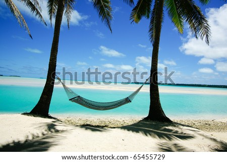 Hammock strung between two palms on tropical island. - stock photo