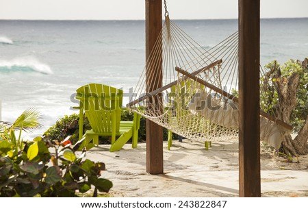 hammock with view of the ocean in the bahamas - stock photo