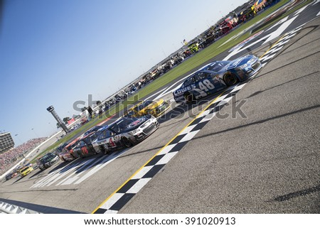 Hampton, GA - Feb 28, 2016: Jimmie Johnson (48) celebrates after winning the Folds of Honor QuikTrip 500 at the Atlanta Motor Speedway in Hampton, GA.
