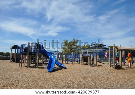 HAMPTON, VA - SEP 7: Playground at Buckroe Beach Park in Hampton, Virginia, as seen on Sep 7, 2015. It is one of the oldest recreational areas in the state. - stock photo