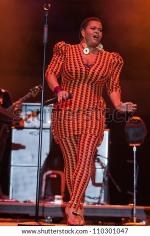 HAMPTON, VIRGINIA - JUNE 23: singer Jill Scott performs on stage at the 45th Hampton Jazz Festival, At Hampton Coliseum - Hampton, Virginia on June 23, 2012 in Hampton, Virginia. - stock photo