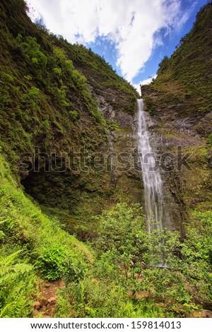 Hanakapi'ai Falls, Kauai island - stock photo
