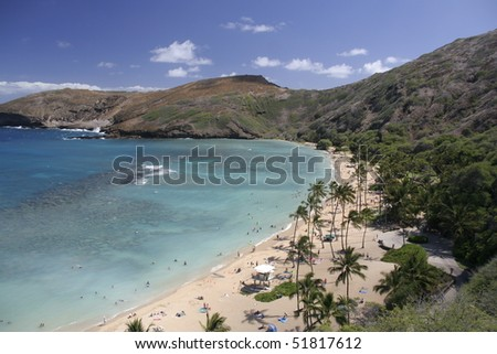 Hanauma Bay in Hawaii - stock photo