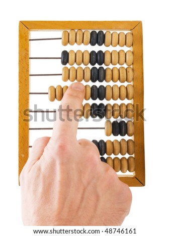 hand and a wooden Abacus isolated - stock photo