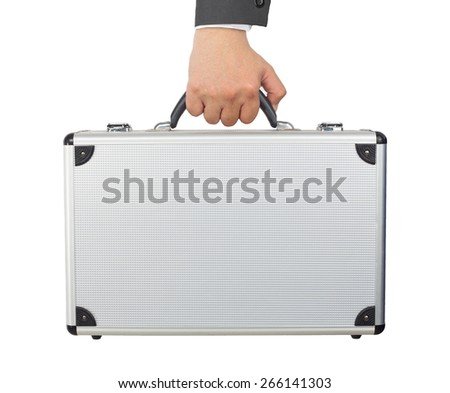 Hand and arm holding silver luggage or brief case isolated on white background. - stock photo
