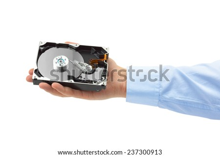Hand and computer hard drive isolated on white background - stock photo