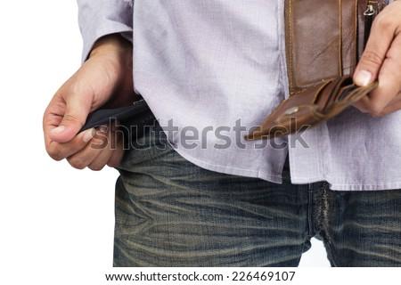 Hand and empty pocket - stock photo