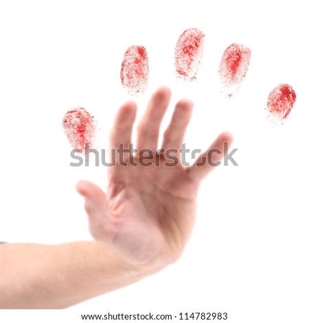 hand and fingerprints - stock photo