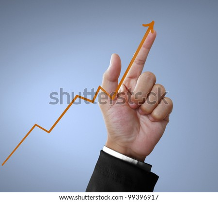 hand and graph - stock photo