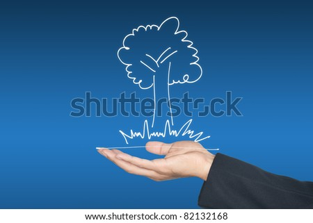 Hand and green plant icon, can be used for go green concept - stock photo