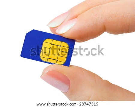 Hand and phone sim card isolated on white background - stock photo