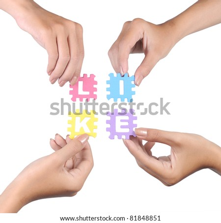 hand and puzzle like isolated on white background - stock photo