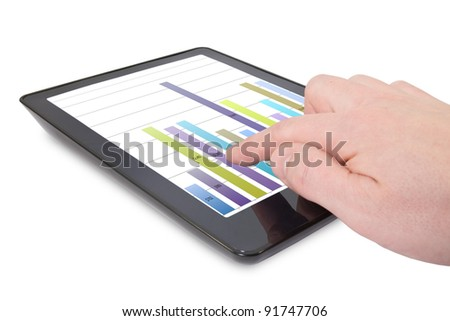 hand and Tablet computer with business graph - stock photo
