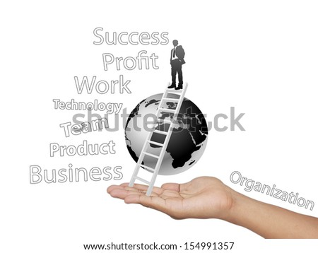 Hand and the world of businesses carried on to success isolated on white background. - stock photo