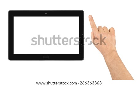 Hand and touchpad pc isolated on white background - stock photo