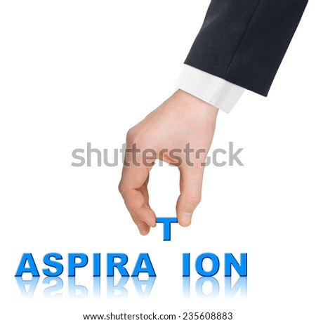 Hand and word Aspiration isolated on white background - stock photo