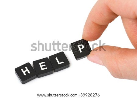 Hand and word Help - business concept isolated on white background - stock photo