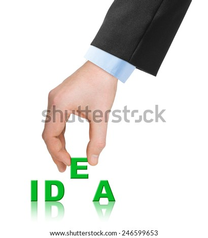 Hand and word Idea isolated on white background - stock photo
