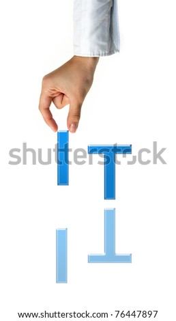 Hand and word IT - business concept (isolated on white background) - stock photo