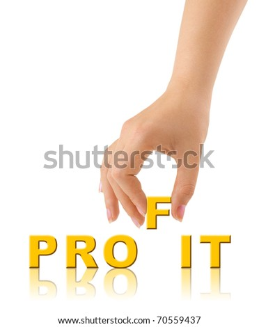 Hand and word Profit isolated on white background - stock photo