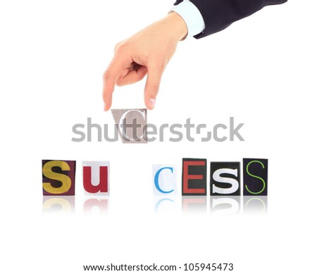 Hand and word Success isolated on white background - stock photo