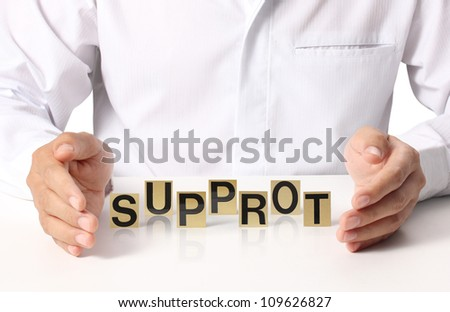 Hand and word Support on white background - stock photo
