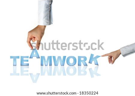 Hand and word Teamwork - business concept (isolated on white background) - stock photo