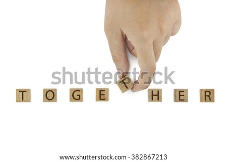 Hand and word together isolated on white background - stock photo