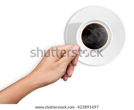 Hand are holding a cup of coffee on white background - stock photo