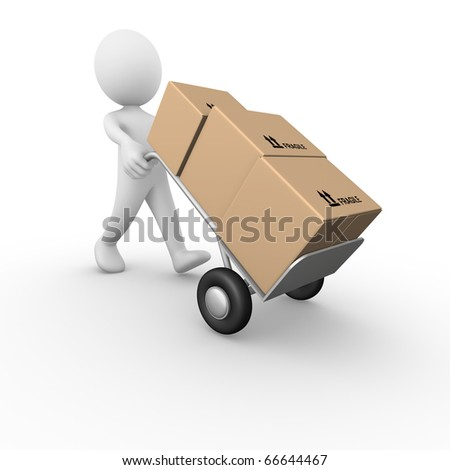 Hand barrow truck - stock photo