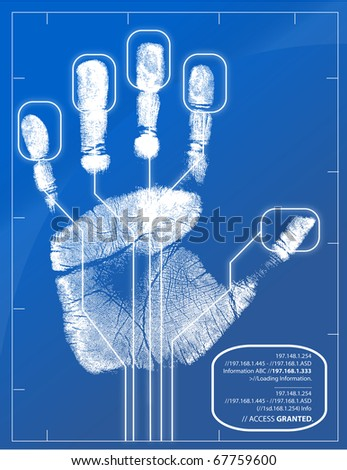Hand being scanned before access is granted. - stock photo