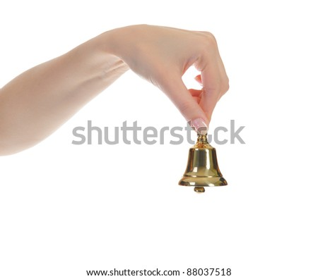 hand bell in the woman's hand isolated on white background - stock photo