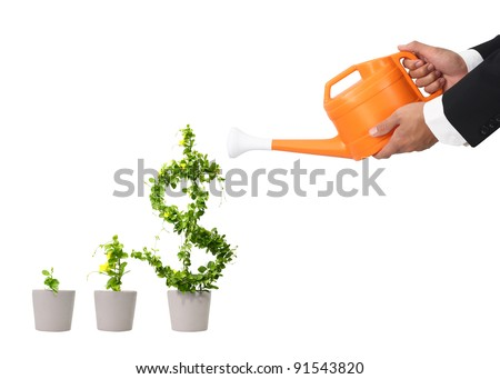 hand business man and orange water can (path in side) - stock photo