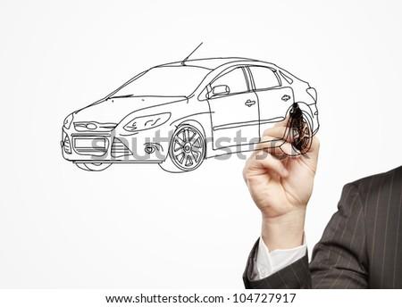 hand businessman draws a model car - stock photo