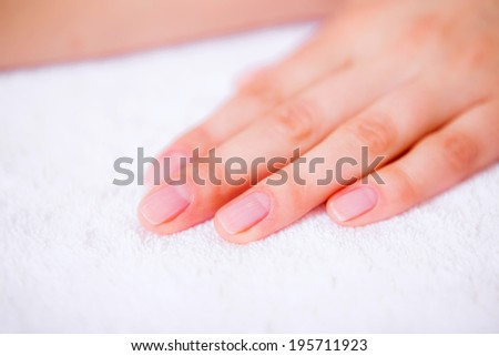 hand care, health and beauty of hands, the girl in a beauty salon, body care - stock photo