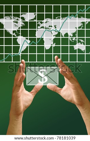 Hand carry the profit with the rising of stock's exchange, Make money concept - stock photo