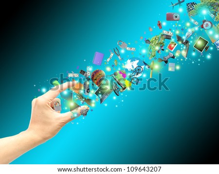 hand catch virtual object - stock photo