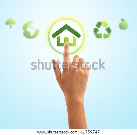 hand choosing home symbol from eco green icons, gradient background - stock photo