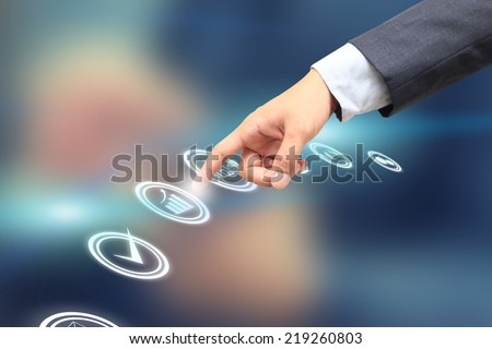 hand choosing one of the options, business graph - stock photo
