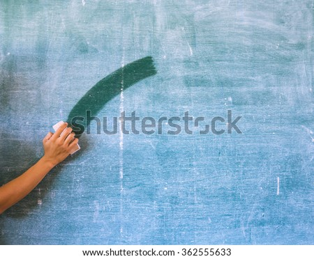 Hand cleaning  chalkboard, blackboard,greenboard - stock photo