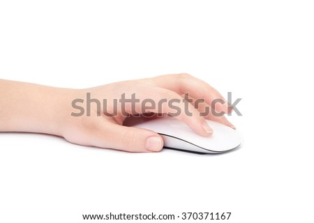 Hand click on modern computer mouse isolated on a white background - stock photo